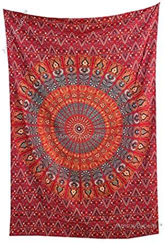 Amitus Exports (TM) 1 X Fan Strip Blanket Indian Mandala Tapestry Throw 80