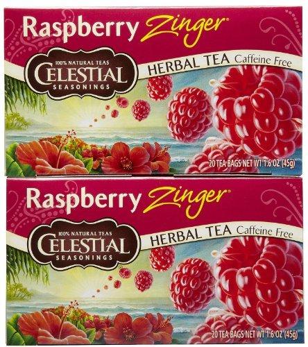 Celestial Seasonings Herbal Tea Caffeine Free Raspberry Zinger - 20 Tea Bags Celestial Seasonings Raspberry Tea