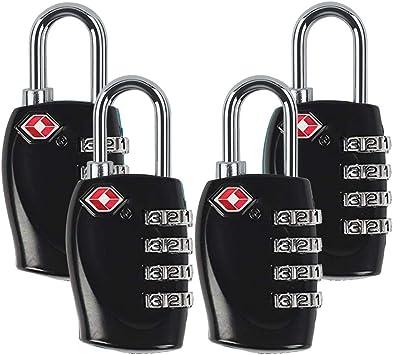 Black /& Silver 4 Digit Combination Suitcase TSA Luggage Padlocks 2 Packs
