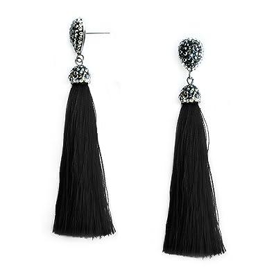 Pu Ran Women Retro Ethnic Style Rhinestone Fan Shaped Tassel Statement Dangle Earrings y0WSR5