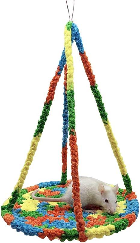 LeerKing Hamster Cama Colgante Trenzada Hamaca pequeña Animal Mascotas Escalada Redes con Tejido Suave para Mascotas Columpio Cama Juguete para ...