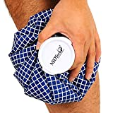 Neotech Care Ice Bag for Injuries, Swelling, Headache, Pain Relief, First Aid - Cold Pack Screw Top Lid - Reusable, Refillable, Flexible & Waterproof Pouch/Bladder Style (8 inch, Blue Design)