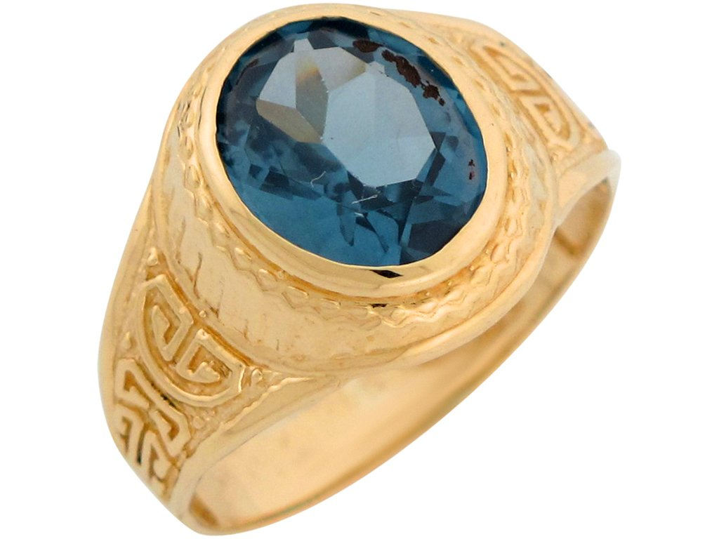 10k Yellow Gold Simulated Aquamarine Greek Design March Birthstone Mens Ring by Jewelry Liquidation (Image #2)