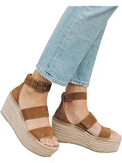 6ef543ba7 Syktkmx Womens Platform Strappy Sandals Low Wedge Heeled Ankle Strap Summer  Espadrilles