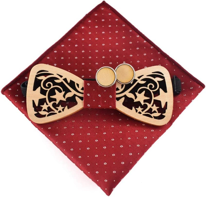 Wooden Bow Tie Mens Wood Bow Tie Handmade Rosewood Bowtie with Matching Pocket Square Sets Color : Red