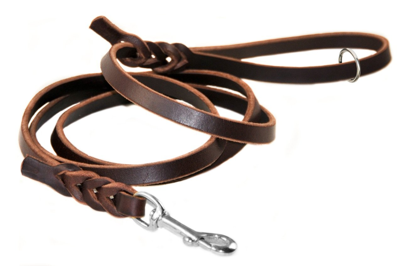 Dean & Tyler Nocturne Dog Leash with Ring on Handle and Stainless Steel Snap Hook, 6-Feet by 1 2-Inch, Brown