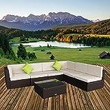 U-MAX 7 Pieces Patio PE Rattan Wicker Sofa Sectional Furniture Set (Brown)