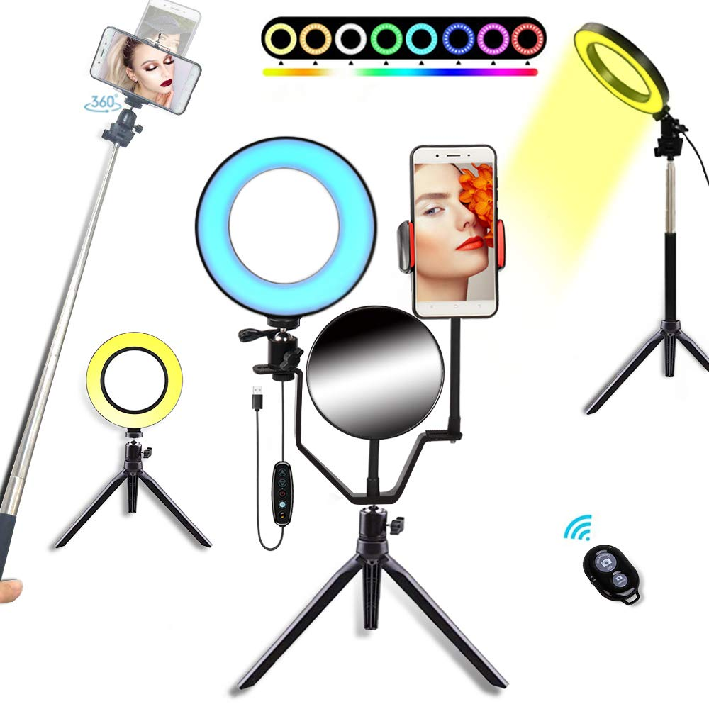 6'' RGB Ring Light, Self-Timer Mini with Mirror Tripod Phone Holder Ring Light, Height Adjustable for YouTube Video/Live/Makeup/Reading. (6'') by itkidboy