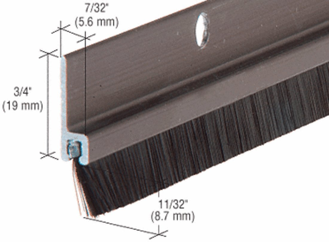 Dark Bronze Anodized and Nylon Door 11/32'' Bristle Weatherstrip - 72 in long
