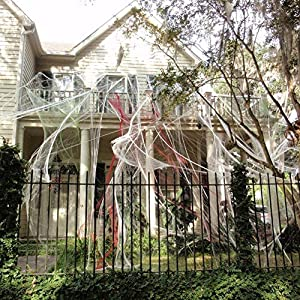 Halloween Spider Webs Stretchable (400 Square Feet) Extra Large | Indoor & Outdoor Spooky Cobwebs with 28 Fake Black…
