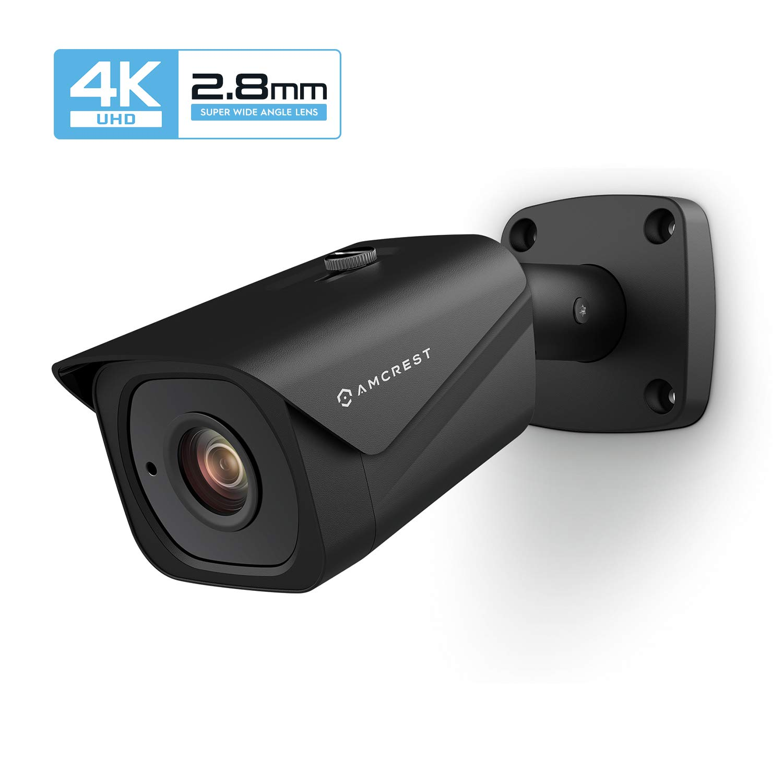 Amcrest UltraHD 4K (8MP) Outdoor Bullet POE IP Camera, 3840x2160, 131ft NightVision, 2.8mm Lens, IP67 Weatherproof, MicroSD Recording, Black (IP8M-2496EB) by Amcrest