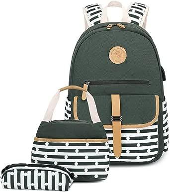 VIDOSCLA 3Pcs Stripe Dot Prints Elementary Backpack Sets Primary School Bag Teens Outdoor Daypack for Girls Boys
