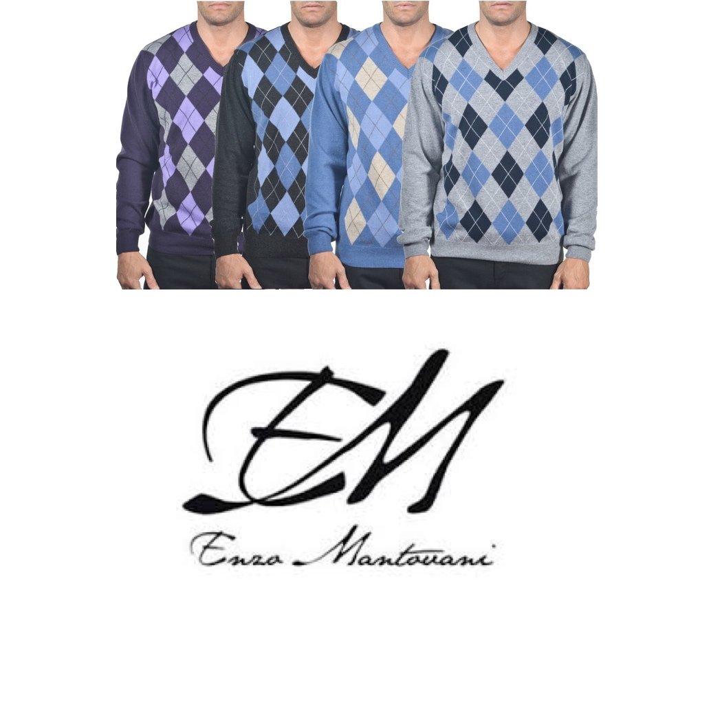 Enzo Mantovani - Argyle Italian Made Men's Fine Gauge Merino V-Neck Sweater (Small, Argyle - Blue - Grey)