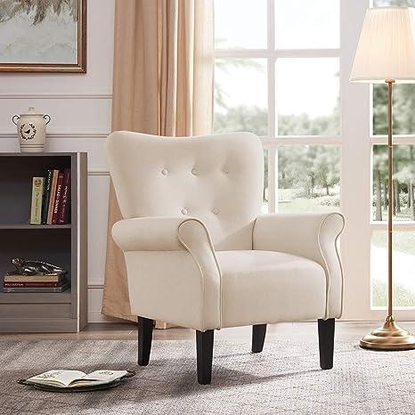 Belleze Modern Accent Chair Roll Arm Linen Living Room Bedroom w/ Wood Leg  (White)