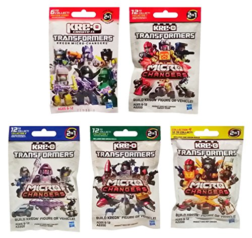 KRE-O Transformers Micro Changers 5 Pack Bundle Includes: Preview Series & Collection 1, 2, 3 & 4 Mini Figure Blind Bag Mystery Packs (1 Pack of - Transformers Combiners Kreo