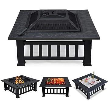 Popamazing Contenedor para hacer fuego 3 en 1 para exteriores, brasero de metal cuadrado para jardín o patio, contenedor para estufa/barbacoa/hielo, ...
