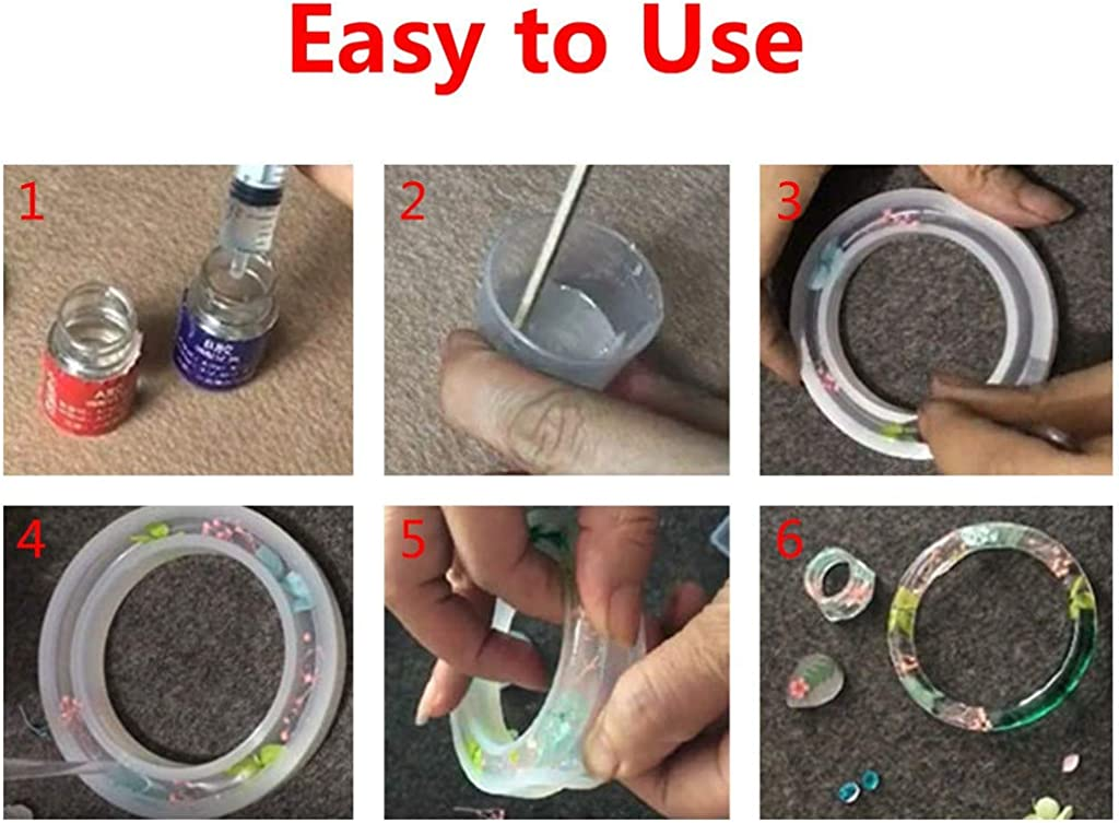 Sumen DIY Bracelet Pendant Epoxy Mold Set Resin Casting Molds and Tools Set 68PCS White