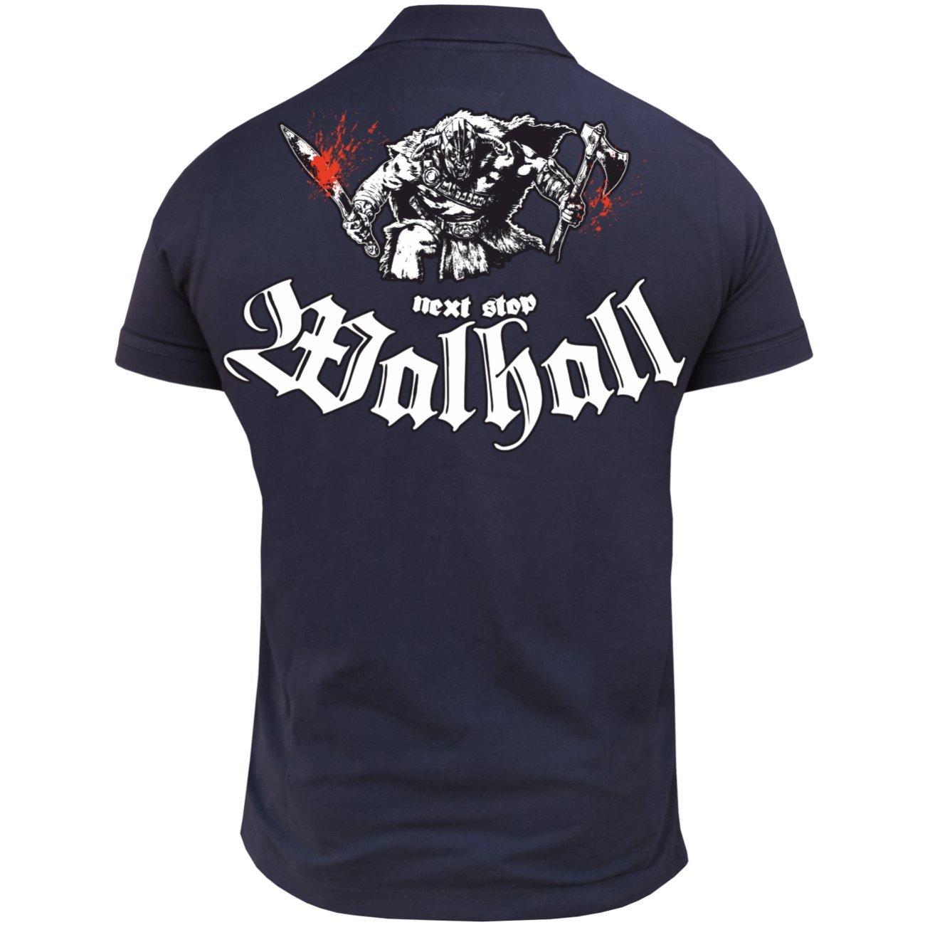 M/änner und Herren POLO Shirt Next Stop WALHALL mit R/ückendruck
