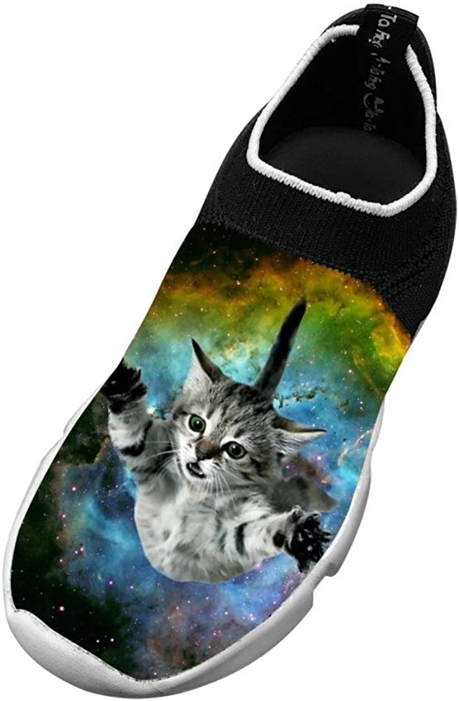 MREIO Space Cat Childrens Breathable Fly Knit Shoes Outdoor Loafers Sneakers Gym Shoes For Girls