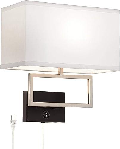 Trixie Modern Wall Lamp Brushed Nickel Matte Black Plug-in Light Fixture Rectangular Fabric Shade
