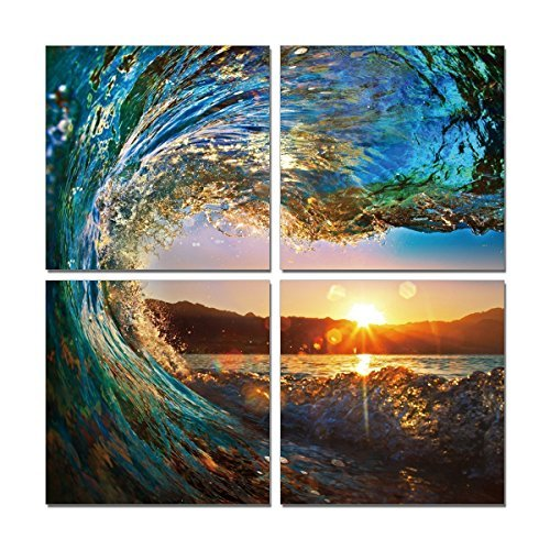 Natural art - Green Sea Wave Painting 4 pcs Wall Art Ocean View Art Print on Canvas Wall Decoration Wrapped with Wooden Frame Easy to Hang,