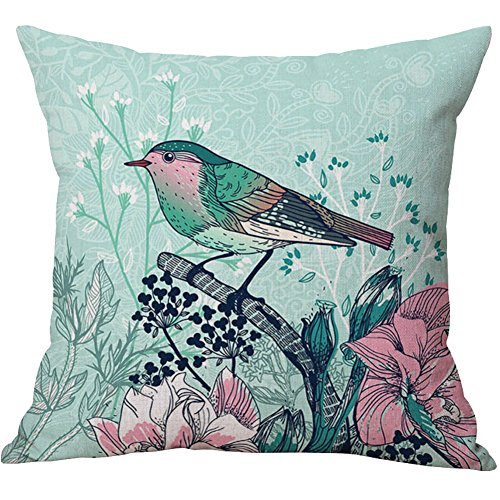 Pidada Throw Pillow Cases Tropical Plants Square Cotton & Linen Cushion Pillow Covers for Sofa Home Decor, 18 X 18 Inches (Flowers Birds - Urban Number Order Outfitters