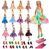 Barwa 5 PCS Fashion Mini Short Party Dresses Clothes + 5 Shoes + 5 Hanger for Barbie Doll Gift (5 Outfits + 5 Shoes + 5 Hangers)