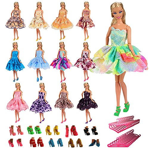 Barwa 5 PCS Fashion Mini Short Party Dresses Clothes + 5 Shoes + 5 Hanger for Barbie Doll Gift (5 Outfits + 5 Shoes + 5 Hangers) by Barwa