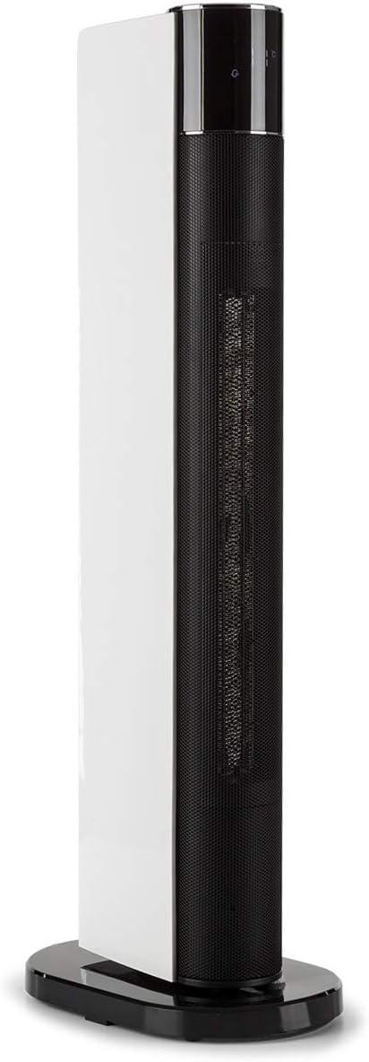 Klarstein Hightower Heat Deluxe Calefactor cerámico - Termostato, Ventilador, 2 en 1, 2200 W, De 5 a 35 °C, Autoapagado, Mando a Distancia, Negro-Blanco