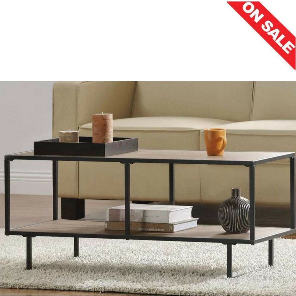 Industrial coffee table with storage decor living room metal top coffee table large contemporary home house shelf display rectangle long modern furniture