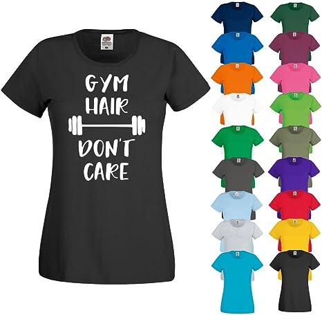 Printized T Camisa Gimnasio Pelo Don t Care Yoga Running Ejercicio Ladies algodón Nuevo para Mujer Top, Lime Green: Amazon.es: Deportes y aire libre