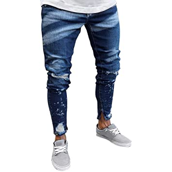 Amazon.com: NUWFOR Mens New Paint Zipper Personality Slim ...