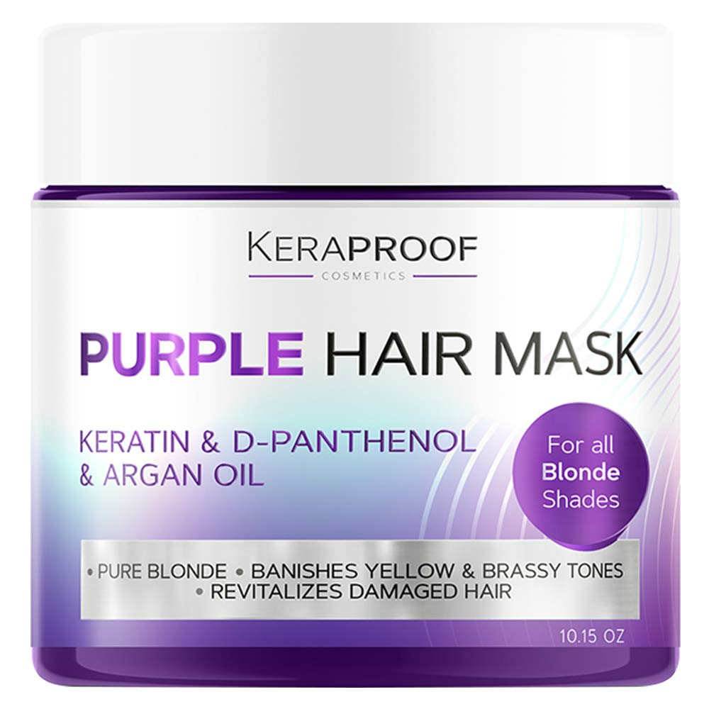 Keraproof Purple Hair Mask - Hair Toner with Coconut Oil, Shea Butter, Keratin & Biotin for Blonde Hair, Ash & Platinum Hair - Greatly Lighten Brassy Hair & Conditioner for Dry & Damaged Hair 10.15 Oz