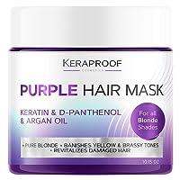 Keraproof Purple Hair Mask - Hair Toner with Coconut Oil, Shea Butter, Keratin &...