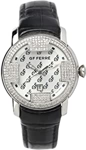 Gf Ferre Wrist Watch for Women Diamond Inlay Leather, Silver