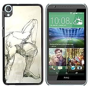 Caucho caso de Shell duro de la cubierta de accesorios de protección BY RAYDREAMMM - HTC Desire 820 - Pencil Man Art Body Human