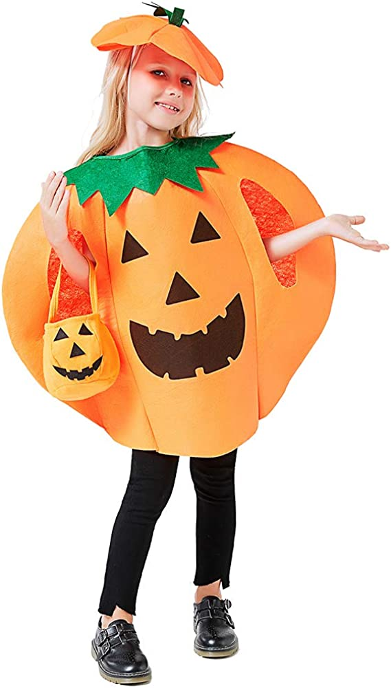 3PCS Pumpkin Costume for Kids Children Halloween Pumpkin Cosplay Party Clothes and Hat