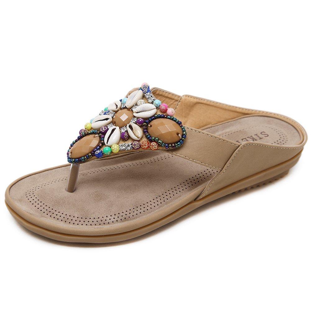 Woky Flip Flops Damen Sommer Zehentrenner mit Strass Perlen Bohemia Flach Clip Toe Pantoletten Grouml;szlig;e 34-44  41 EU|Beige