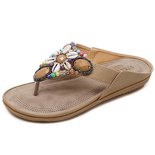 promo code 5f714 0c552 Woky Flip Flops Damen Sommer Zehentrenner mit Strass Perlen Bohemia Flach  Clip Toe Pantoletten Größe 34-44