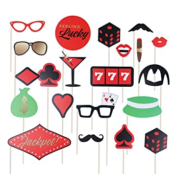 Amosfun 21pcs Las Vegas Casino Photo Booth Props Casino ...