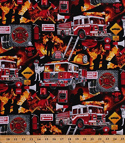 Cotton Firefighters Firemen Fire Engines Trucks Dalmatians Dogs Fire Department Emblem Equipment Flames Heroes Rescue Cotton Fabric Print by The Yard (FIRE-C5501)