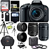Canon EOS REBEL T7i EF-S 18-55 IS STM Kit, EF 55-250mm II, 64GB Memory Card, Wide Angle, Telephone Lens, 48 Tripod and Accessory Bundle