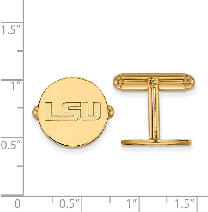 Solid 925 Sterling Silver Louisiana State University Cuff Links 15mm x 15mm