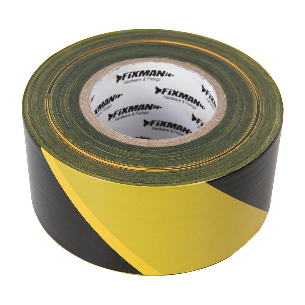 Fixman 535350 Yellow & Black Adhesive Barrier Tape 70mm x 500m