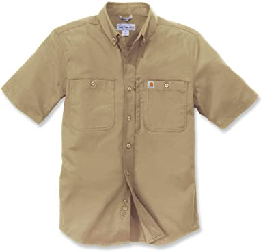 d25ee609e45448 Carhartt Herren Shirt Rugged Prof Workshirt S S Dark Khaki  Amazon.co.uk   Clothing