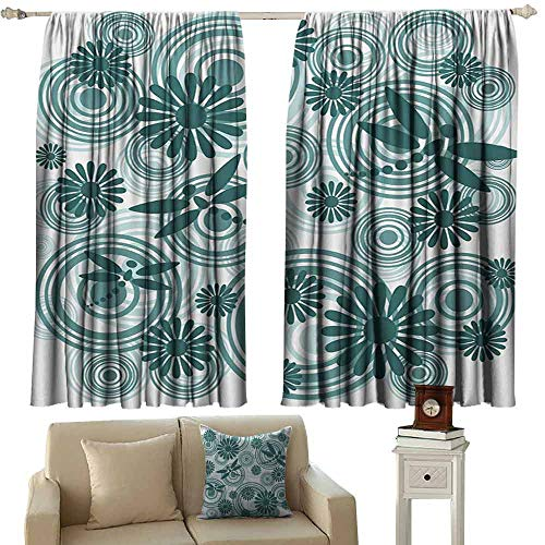 DuckBaby Novel Curtains Dragonfly Abstract Circular Spiral Flowers Chamomile Daisy Figures Modern Print Thermal Insulated Tie Up Curtain W63 xL63 Petrol Blue White