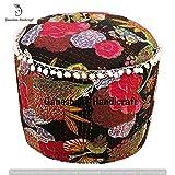 GANESHAM Indian Hippie Gypsy Boho Decor Living Room Vintage Footstool & Pouf Otoomans Cotton Handmade Designer Bean Bags Ethnic Seating Pouf Bohemian Decorative Cotton Kantha Floor Pillows & Cushion