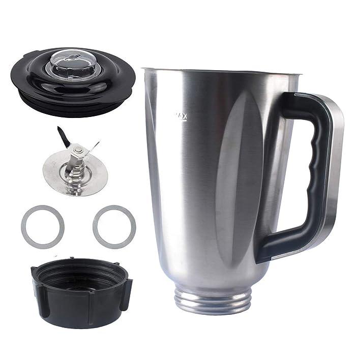 5 Cup Blender Jar Set for Oster Blenders, Replacement Part with Stainless Steel Jar,Blade, Gasket, Base, Lid