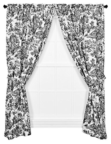 Victoria Park Toile 68-Inch-by-84 Inch Tailored Panel Pair with Tiebacks, Black
