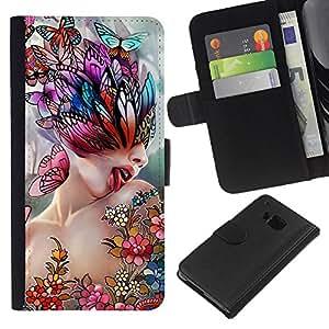 HTC One M9 , la tarjeta de Crédito Slots PU Funda de cuero Monedero caso cubierta de piel ( Art Lick Woman Butterfly Spring Abstract)